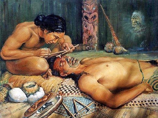 Tatuagem maori tradicional.
